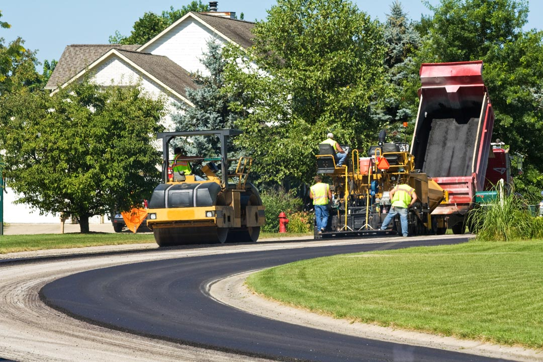 Laying New Pavement In A Residential Neighborhood